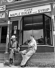 Maple Sugar & Syrup Sign on Store, West Danville, VT -1942- Historic Photo Print