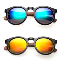Oliver Vintage Fashion Round Circle Key Hole Bridge Wood Tmp Mirrored Sunglasses