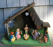 Vintage Italy Nativity Stable Baby Jesus Animals~Wisemen Very Nice Old Christmas