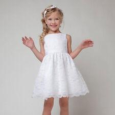 Girls Kids Children's Sleeveless Lace Dress Party Evening Princess Wedding Dress