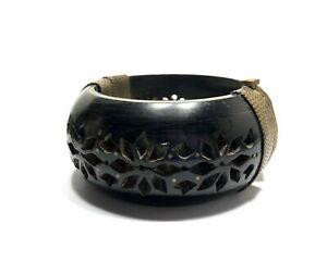 Antique Carved Cow Bone Large Chunky Hinge Bangle Bracelet Brass Insert