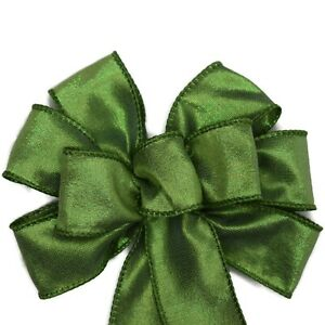 """Small 5-6"""" Hand Made Moss Green Wired Wreath Bow - St. Patrick's Day Spring"""