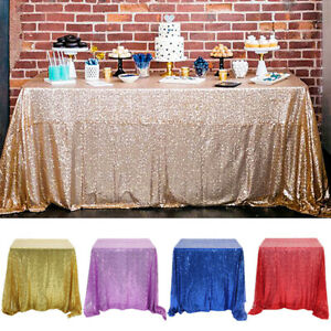 Wedding Glitter Sequin Table Cloth Table Cover Decor Party Home Table Skirt 1PC