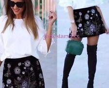 Black Velvet Zara Embroidered Skirt Large L 12 Beaded New BNWT