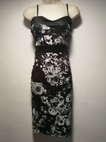 Pink Soda Black and Silver Floral Sleeveless Sheath Dress - Size 6 (106g)