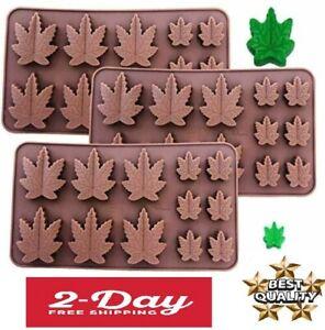 Marijuana Leaf Chocolate Bar Silicone Candy Mold Trays 3 PACK