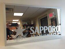 "Sapporo Premium Beer Mirror ~ NEW In Box & Free Shipping ~ 30"" X 17"" ~ RARE"