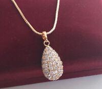 Halskette Tropfen Anhänger mit Swarovski Kristallen 750er Gold 18K vergoldet