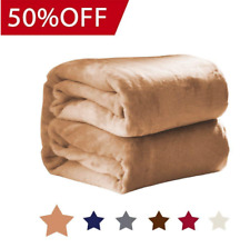 Luxury Super Soft Ultra Plush Blanket Bedding Fleece for Bed & Couch King, Camel