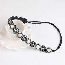 boho handmade rhinestone elastic headband beaded stretched headband head jewelry