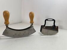 Lot of 2 - Inox & Rowoxo Mezzaluna Knives Single & Double Handles