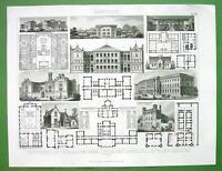 PUBLIC BUILDINGS Nursery Asylum Prison Schools Plans Facades- 1870 Antique Print