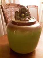 Padre California Pottery Cookie Jar Green 1940's Handpainted Royal Unusual Rare