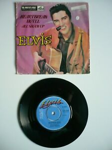 "Elvis Presley Heartbreak Hotel / All Shook Up 7"" Vinyl UK 1981 RCA Blue Single"