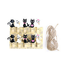 Cat cute wooden clips with hemp rope photo clip wood paper clip for bag DIY tool