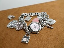 Fossil F2 ES-1739 Pink Mother Of Pearl Dial Womens Luxury Charm Bracelet Watch