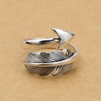 Thick Solid Sterling Sliver Wrap Feather Angel Wing Leaf Arrow Silver Ring III