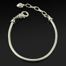 1pc silver Plated Lobster Clasp Snake Chain Bracelet Fit European Charms Bead