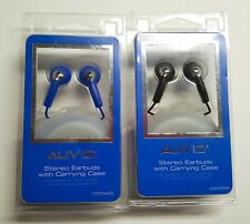 Lot of 2 New In Pack Auvio Stereo earbuds carry case Black and Blue  FREE SHIP