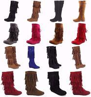 Women's Multi Color Moccasins Tassels Fringe Winter Mid Calf Boots Shoes Sz 5-10
