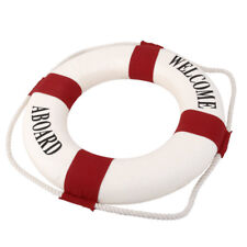 Red Mediterranean Welcome Aboard Decorative Life Ring Buoy Room Decor 35cm