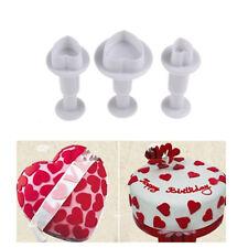 3pcs/set Valentine Love Heart Fondant Plunger Cutter Cake Cookie Decorating Mold