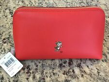 Coach X Baseman Buster Le Fauve Leather Cosmetic Case 22 cm Orange Red 64727 NWT