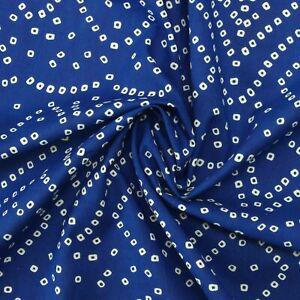Indian Screen Print Blue Bandhani Dot 100% Cotton Women Dress Fabric