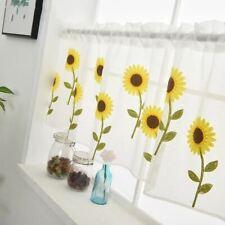 1 Pc Window Sunflower Embroidery Half Curtain Home Decoration Door Windows Simpl