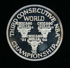 Limited Edition .999 Fine Silver 1993 Chicago Bulls Three Championships Coin