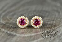 1.50ct Round Cut Solitaire Ruby Halo Earring Studs 14K Yellow Gold Screwbacks