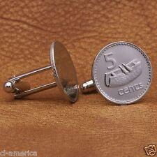Fiji Lali Drum Coin Cufflinks,  5 Cents Silver Tone Fijian