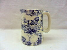 Blue toile de jouy half pint jug pitcher jug by Heron Cross Pottery