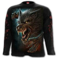Spiral Direct WILD MOON Mens Long Sleeve, Blood/Biker/Wolf/T-shirt/Top/Clothing