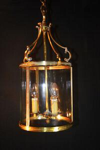Vintage 1930s French antique large bronze 3-arm slip cylinder shade hall lantern