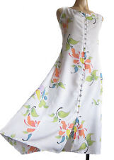 Long White button-up Dress, size M, UK size 10 to 14 hand-painted flower pattern