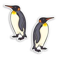 2 x 10cm Emperor Penguin Vinyl Stickers - Cute Birds Fun Laptop Sticker #30079