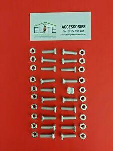 GENUINE Elite x 20 Greenhouse Aluminium M6 22mm Square Head Bolts&Nuts,Rust Free