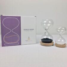 Zenus Creations Hourglass Timer Set Glass Quartz Sand Clock Yoga 2 Timers