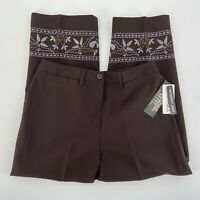 NWT Larry Levine Sport Brown & Floral Cropped Pants Women's Size 8