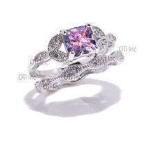 Princess Amethyst CZ Engagement Wedding Nature Wreath Sterling Silver Ring Set