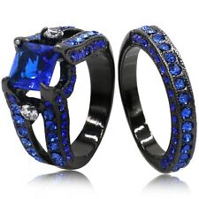 SZ 5 6 7 8 9 10 11 Black Wedding Engagement Propose Anniversary Ring Band Pair