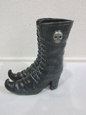 "Halloween Witch Boots Skull Shoe Figurine Sculpture PROP Decor Holder 8"""