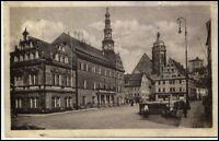 PIRNA Elbe Sachsen um 1925 Personen Häuser Geschäfte am Marktplatz AK gelaufen
