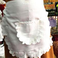 1PC Vintage White Half Waist Woman's Apron With Pocket Pinny Frilly Waitress