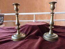 importante paire de flambeaux restauration laiton H 29 cm