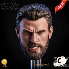 Anger version howl beard 1/6 Captain America Steve Rogers head sculpt for 12Inch