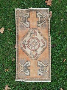 Vintage Handwoven Turkish Pastel Small Bed Side Yastik Rug Carpet 1.5 X 3 ft