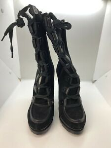 Charles David Military High Heeled Womens Black Suede Lace Up Boots Sz US 8.5 M