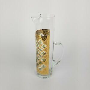 Vintage Culver Martini Pitcher Glass Valencia 22k Gold Green Diamond 11in